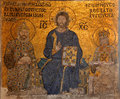 Byzantine mosaic art in higia sophia istanbul turkey Royalty Free Stock Photos