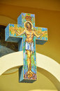 Byzantine mosaic on a cross with jesus romania Royalty Free Stock Photos