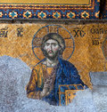 Byzantine mosaic in the Hagia Sophia in Istanbul, Turkey Royalty Free Stock Photo
