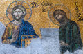 Byzantine mosaic in the old church Hagia Sophia in Istanbul, Tur Royalty Free Stock Photo