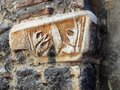 Byzantine motif stone marble motifs embedded in exterior of greek orthodox church Royalty Free Stock Photography