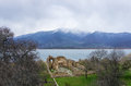 Byzantine ruins in Agios Achilios island, Small Prespa lake, Florina, Greece Royalty Free Stock Photo