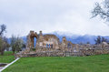 Byzantine ruins in Agios Achilios island, Small Prespa lake, Florina, Greece Royalty Free Stock Photo