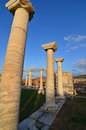 Byzantine ruins sun sets on the marble columns of a church basilica of st john ephesus turkey Stock Image