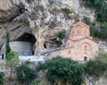 Byzantine style church in rock face Royalty Free Stock Photo