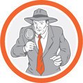 Círculo de holding magnifying glass del detective retro Foto de archivo libre de regalías