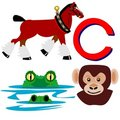 C Clydesdale, crocodile and chimpanzee Royalty Free Stock Photo