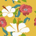 Seamless Tropical Floral pattern design vector illustration flower with yellow background for fabrics, textiles, bullet journal, Royalty Free Stock Photo