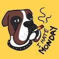 I hate Monday , Boxer dog smoking cigarette cartoon illustration