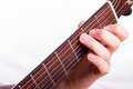 C major chord performed on acoustic guitar Royalty Free Stock Photos