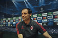 C milan coach massimiliano allegri press conference second leg against barcelona valid pass end quarts Stock Images