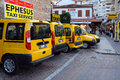 Cab stand in kusadasi yellow cabs wait for passengers at the the town of turkey on the th of september Royalty Free Stock Images