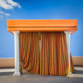 Cabana poolside beach with curtains drawn Royalty Free Stock Photos