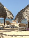 Cabana view a beach while lounging in a beach chair in the Stock Photo