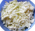 Cabbage chopped raw in a blue bowl Royalty Free Stock Images