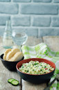 Cabbage radish cucumber dill salad with greek yogurt dressing Royalty Free Stock Photo