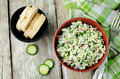 Cabbage radish cucumber dill salad with greek yogurt dressing Royalty Free Stock Photo