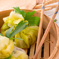 Cabbage with rice bags Royalty Free Stock Photo