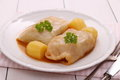 Cabbage rolls with potato, herbs and sauce Royalty Free Stock Photo