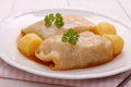 Cabbage rolls with potato, parsley and sauce Royalty Free Stock Photo