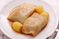 Cabbage rolls with potato and sauce Royalty Free Stock Photo