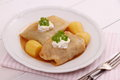 Cabbage rolls with potato and sour cream Royalty Free Stock Photo