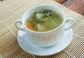 Cabbage soup l green nettles and chicken wings Royalty Free Stock Photography