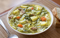 Cabbage soup with meat and potatoes close up Royalty Free Stock Photography