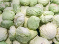 Cabbages pile of in the mar Stock Photo