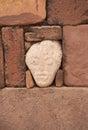 Cabeça misteriosa no templo de semi underground tiwanaku Fotografia de Stock