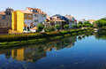 Cabe river and old houses at monforte de lemos in summer day galicia spain Stock Photography