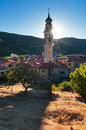 Cabella ligure town of italy province of alessandria sun behind church tower Stock Photography