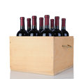 Cabernet Wine Bottles in Wood Crate Royalty Free Stock Images