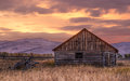 Cabin near Jackson Wyoming at Sunrise Stock Images