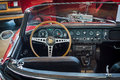 Cabin of sports car jaguar e type serie i roadster stuttgart germany march europe s greatest classic exhibition retro classics Royalty Free Stock Photos