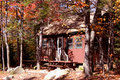 Cabine en automne Photo stock