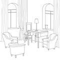Cabinet interier. Editable vector furniture. Interior in retro style
