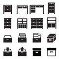 Cabinet & storage icon set Royalty Free Stock Photo