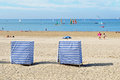 Cabins on the beach in saint georges de didonne france Royalty Free Stock Image