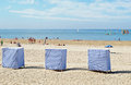 Cabins on the beach in saint georges de didonne france Stock Photography
