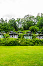 Cabins camping in a woods Stock Photography