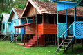 Cabins in the jungle rain forest Royalty Free Stock Images