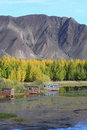 Cabins near Kyi river Royalty Free Stock Images