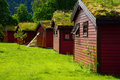 Cabins for rent with turf roof at caravan site Royalty Free Stock Images