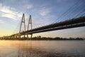 Cable-braced bridge across the river Neva Royalty Free Stock Photo