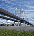 Cable bridge suspension guyed at sunny day Stock Photos