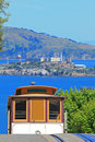 Cable Car & Alcatraz Island in San Francisco Stock Photography
