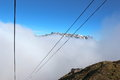 Cable car in chamonix going to l aiguille du midi the top of the Royalty Free Stock Photos