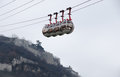 Cable car descending from fortress grenoble bastille Stock Photos