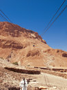 Cable car in fortress masada israel sunny day Stock Image